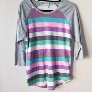 LuLaRoe Randy, pastel stripes, L